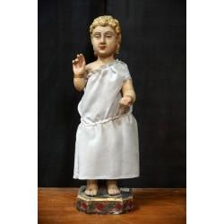 Antique Baby Jesus Wooden Sculpture
