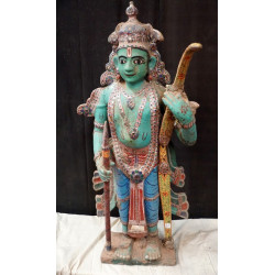 Antique Wooden Figure Hindu God Rama