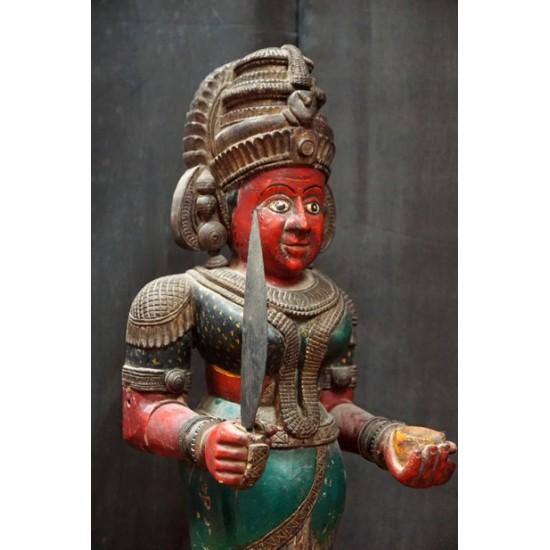 Antique Hindu Temple Security Figure