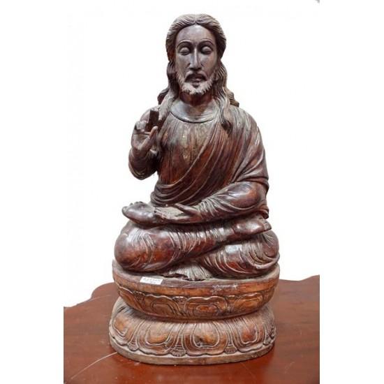 Antique Wooden Carved Jesus Statue