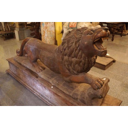 Antique Wooden Carved Lion