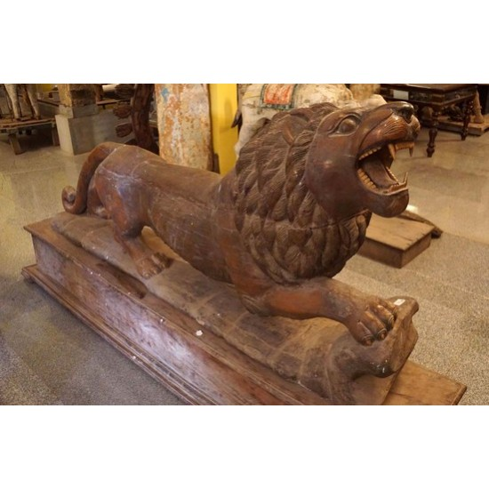 Antique Wooden Carved Lion