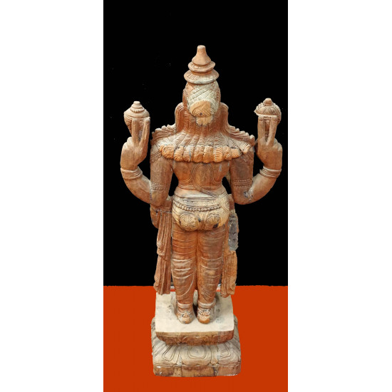 Antique Wooden Carved Lord Vishnu