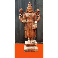 Antique Wooden Carved Lord Vishnu
