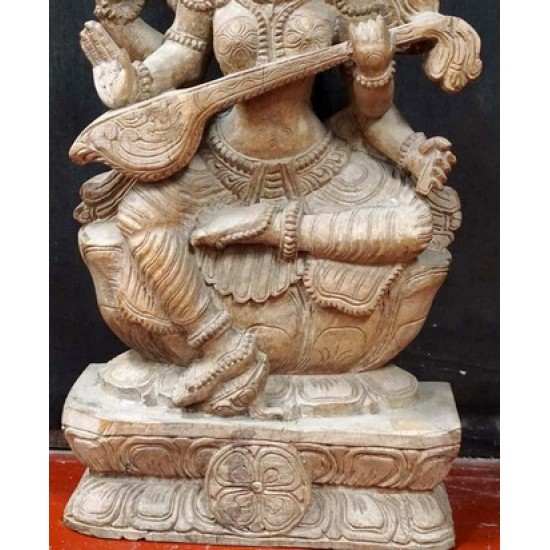 Antique Wooden Saraswati Statue