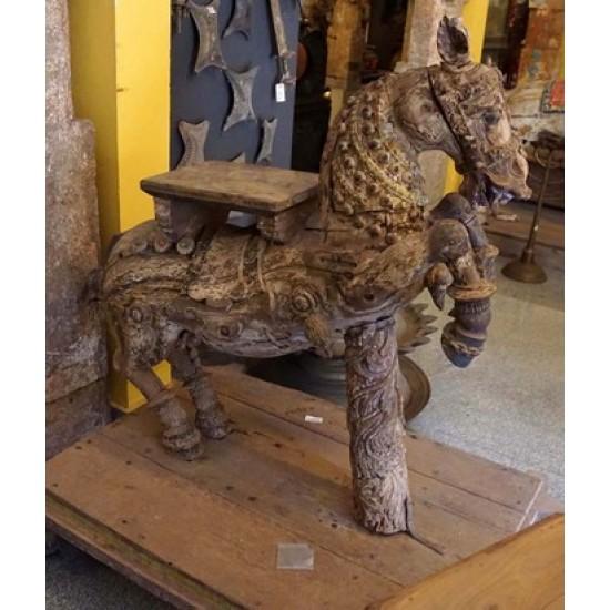 Antique Wooden Horse Statue