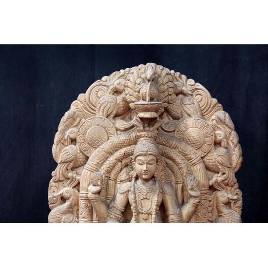 Wooden  Lord Vishnu statue