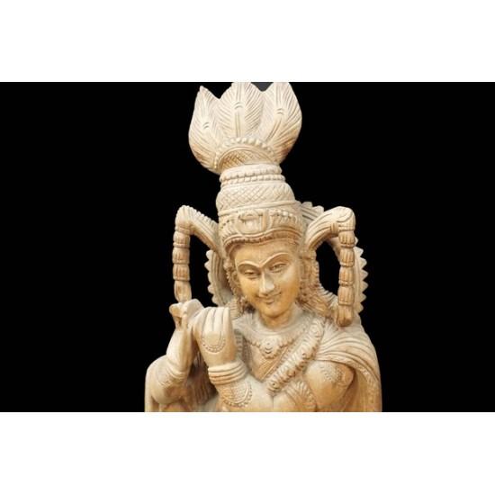 Wooden Lord Krishna