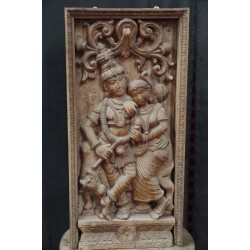 Wooden panel Krishna and Radha