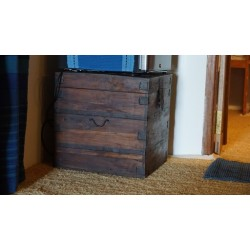 Antique Style Teak Wood Box With Iron Reinforcement