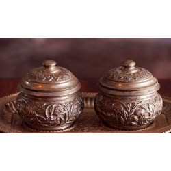 Silver Tray with Silver Pots