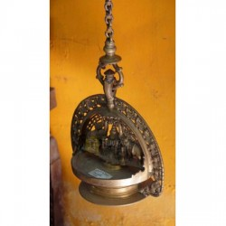 Antique Brass Gajalaxmi Hanging lamp