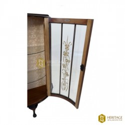 Antique Style English Carved Glass Display Cabinet
