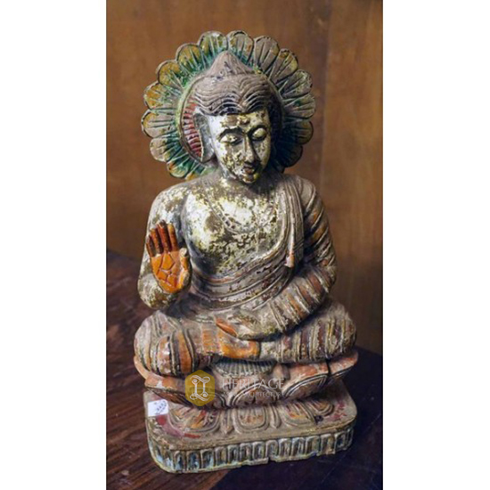 Antique Gautama Buddha Wooden Statue