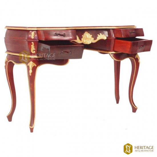 Antique Style Wooden Console with Gold Rims