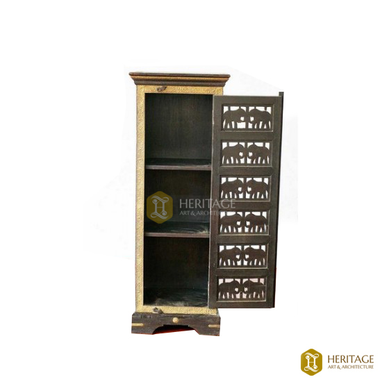 Jackwood Cupboard with Brass Elephant Inlays