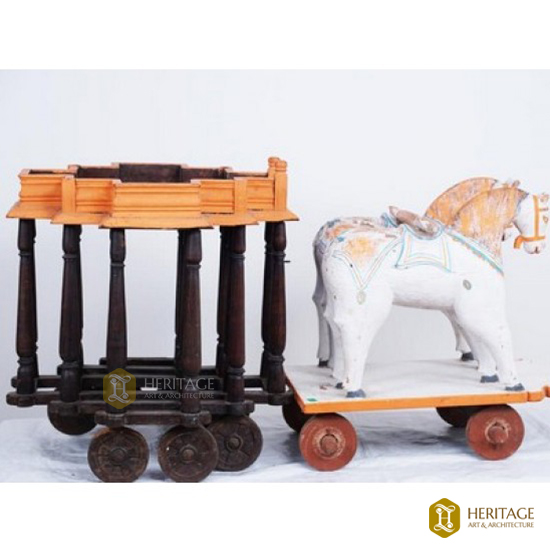 WOODEN HORSE AND TEMPLE CART