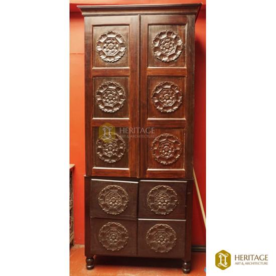 Wooden Almirah with Rosette Doors