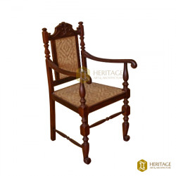 Classic Cane and Wood Chair with Armrest