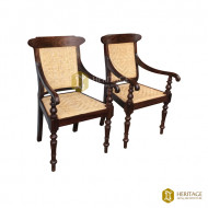Wood and Woven Cane Outdoor Chair