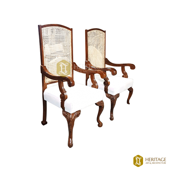 Woven Cane High Chair with  Cushions