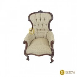 Victorian Upholstered Carved Walnut Parlor Chair