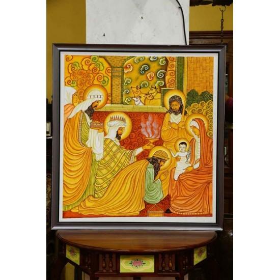 Baby Jesus mural painting