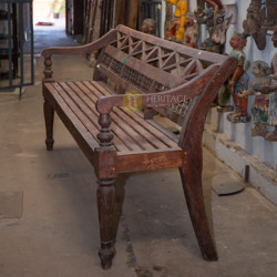 Wooden Backrest Bench