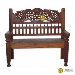 Carved Teakwood Bench