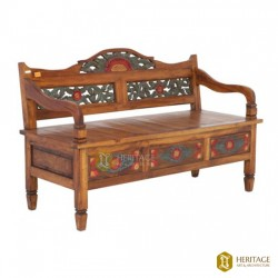 Painted Wooden Bench With Storage