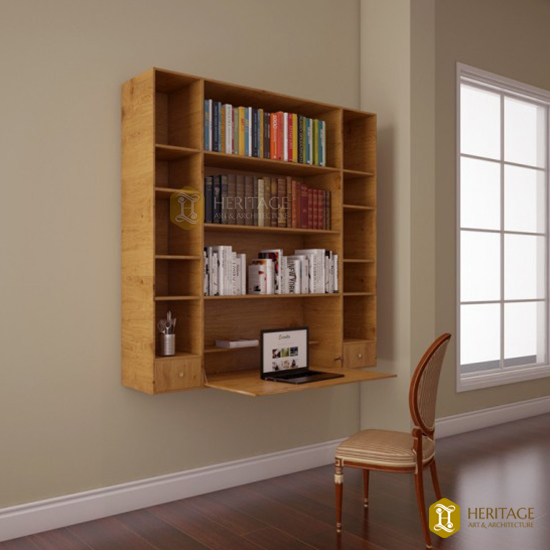 Teak Wood Folding Wall Mount Shelf