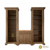 Twin Tower Bookshelf with Cabinet