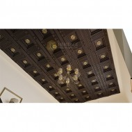 Brass Flower Embossed Wooden Coffered Ceiling
