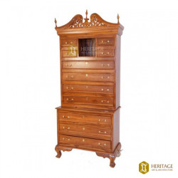 Antique Style Wooden Cabinet with Carved Top Rail