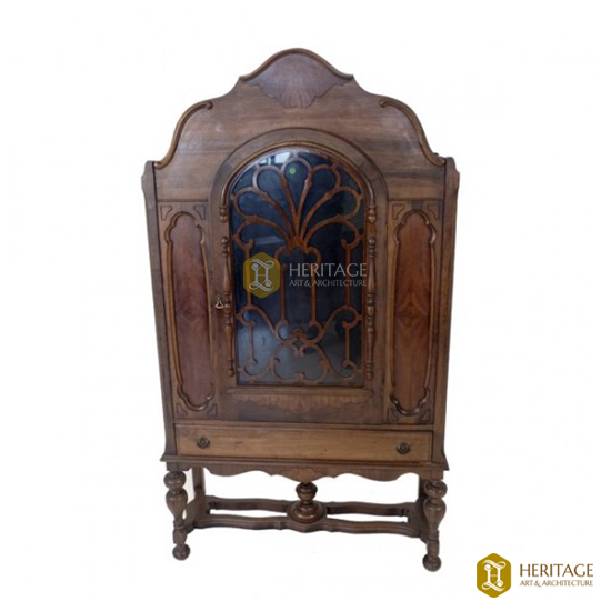 Antique Style Wooden Cabinet with Floral Grill