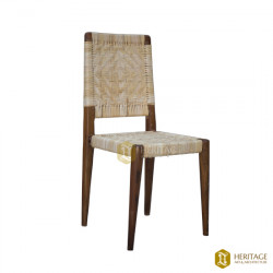 Cane and Wood Straight Back Chair
