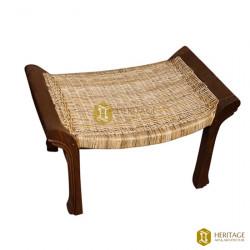 Cane Woven Wooden Ottoman