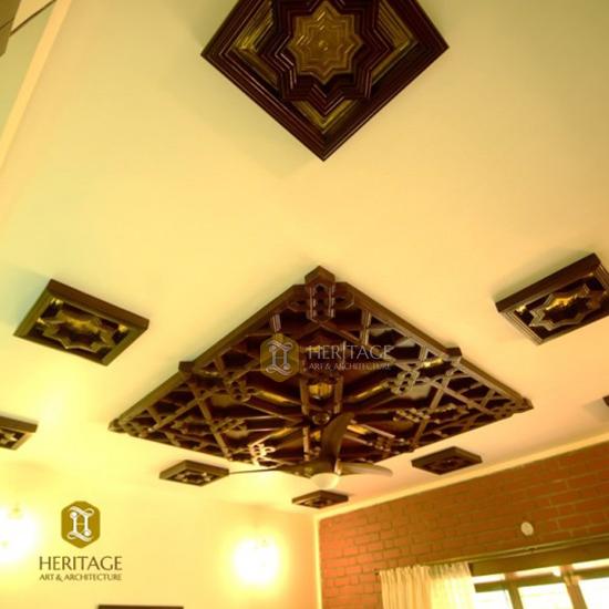Brass Inlaid Wooden Ceiling