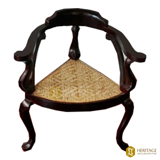 Antique Style Anjili and Wild Rose Wood Corner Chair