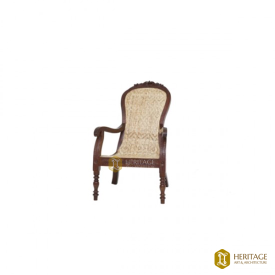 Rosewood Easy Chair with Carved Crown