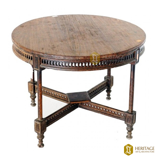 Antique Style Teak Wood Round Table