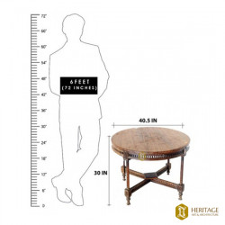 Antique Style Teak Wood Round Table
