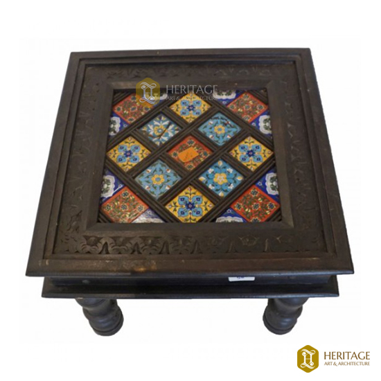 Antique Style Wooden Square Coffee Table