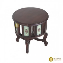Rosewood and Vintage Tile Round Table