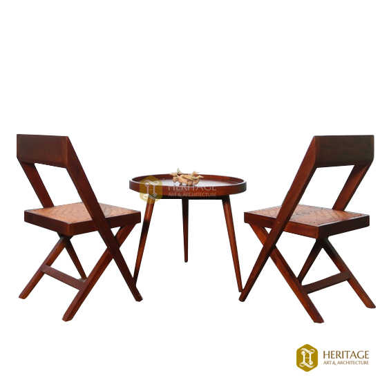 Round Teapoy With Library Chairs
