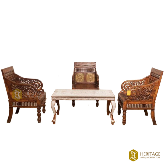 Wildrose and Brass Coffee Table Set