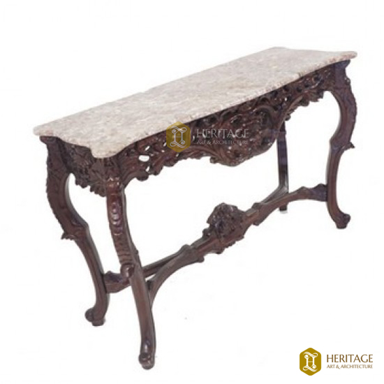 Carved Wood and Marble Topped Console