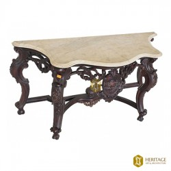 Solid Wooden Console With Marble Top