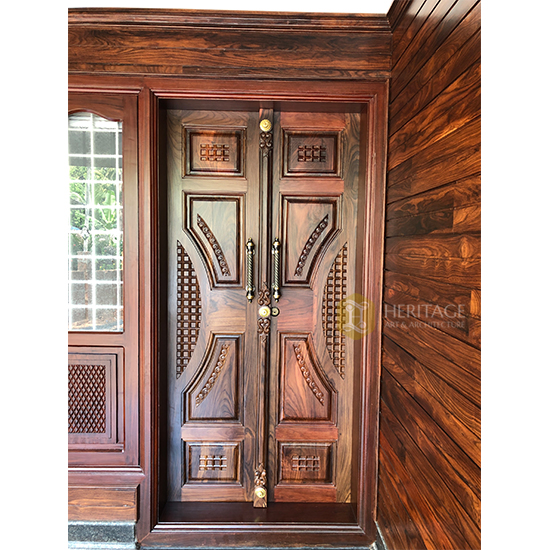 Contemporary Style Rosewood Double Door