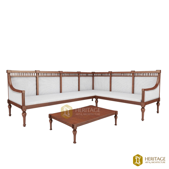Contemporary Wooden Corner Sofa With Teapoy